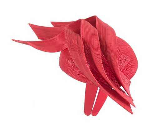 Fascinators Online - Red pillbox racing fascinator with jinsin trim by Fillies Collection 4