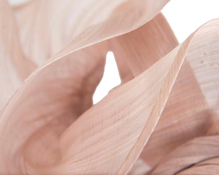 Fascinators Online - Blush sculptured silk abaca fascinator by Fillies Collection 3