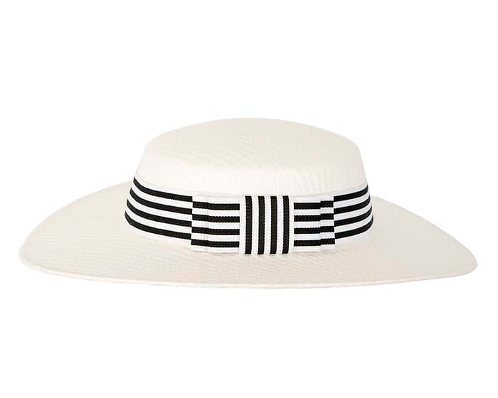 Fascinators Online - White & black boater hat by Max Alexander 4
