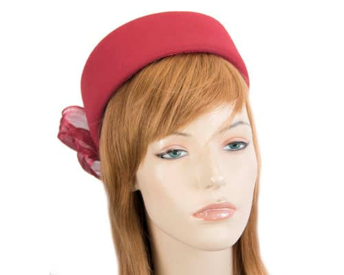 Fascinators Online - Red felt ladies fashion beret hat with bow by Fillies Collection 32