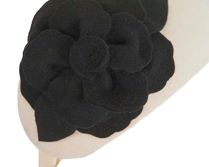 Fascinators Online - Wide headband cream winter fascinator with black flower by Max Alexander 5