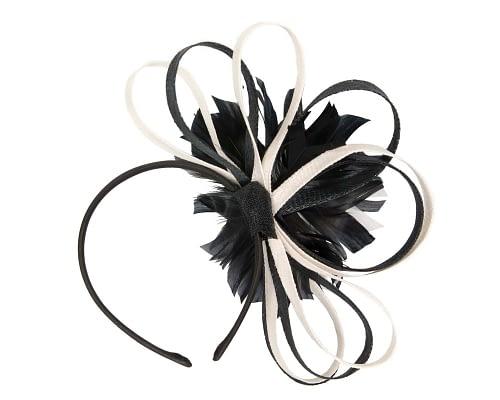 Fascinators Online - Black & cream feather flower fascinator headband by Max Alexander 4