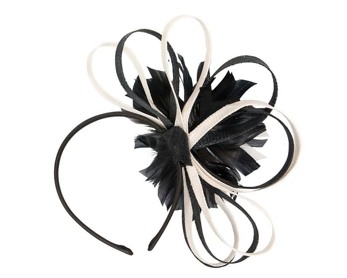 Fascinators Online - Black & cream feather flower fascinator headband by Max Alexander 4