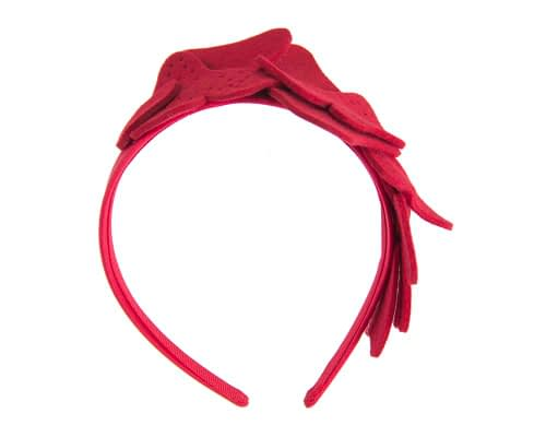 Fascinators Online - Petite red felt winter fascinator by Max Alexander 2