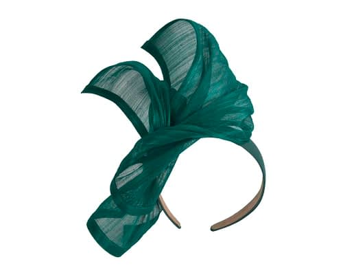 Fascinators Online - Teal twists of silk abaca fascinator by Fillies Collection 2