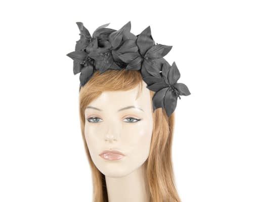 Fascinators Online - Black leather flower headband by Fillies Collection 5