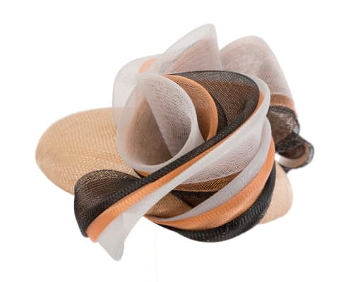 Fascinators Online - Nude & black pillbox racing fascinator with wave by Fillies Collection 3