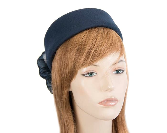 Fascinators Online - Navy felt ladies fashion beret hat with bow by Fillies Collection 1