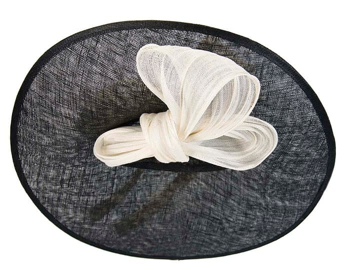 Fascinators Online - Large black fascinator hat with cream bow 5