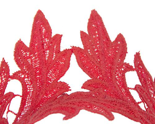 Fascinators Online - Red lace crown fascinator by Max Alexander 3