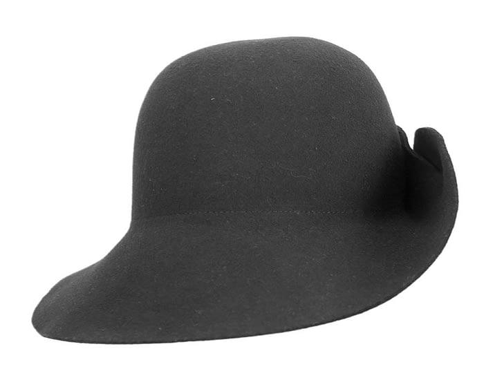 Fascinators Online - Unusual black felt wide brim hat by Max Alexander 3