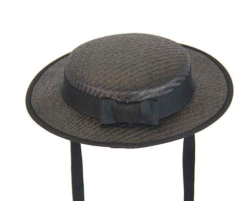 Fascinators Online - Small black boater fascinator hat by Max Alexander 5