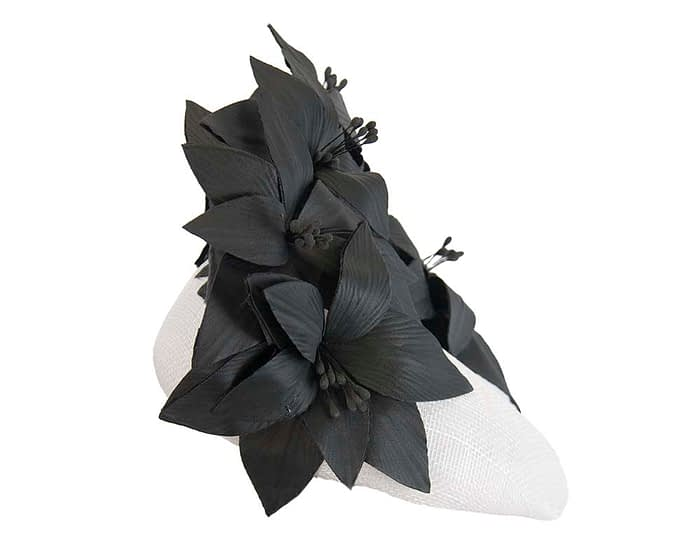 Fascinators Online - White & black leather flower pillbox fascinator by Fillies Collection 4