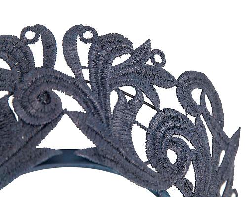Fascinators Online - Navy lace crown racing fascinator by Max Alexander 3