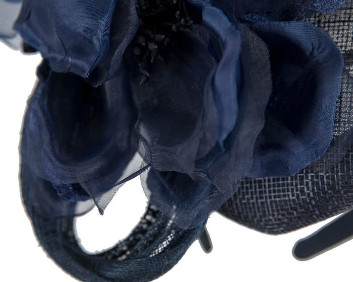 Fascinators Online - Navy pillbox fascinator with large flower by Fillies Collection 5