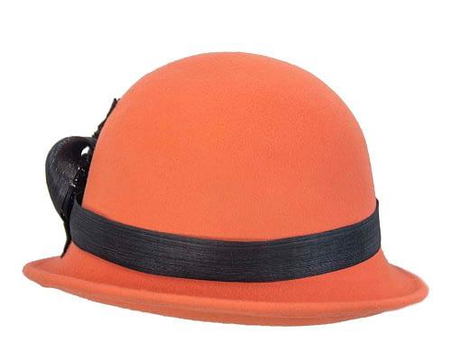 Fascinators Online - Exclusive orange felt cloche hat with lace by Fillies Collection 3