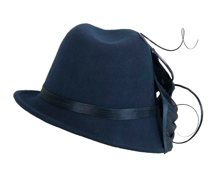 Fascinators Online - Exclusive navy felt trilby hat by Fillies Collection 3