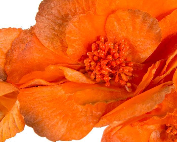 Fascinators Online - Burnt orange flowers on the headband 3