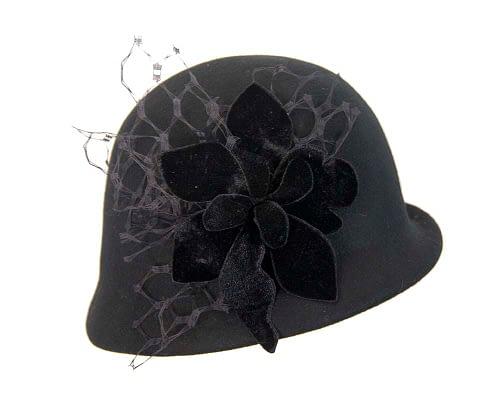 Fascinators Online - Black felt bucket hat from Fillies Collection 4