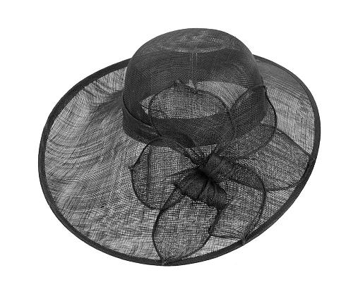 Fascinators Online - Large black fashion hat by Max Alexander 3