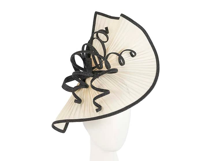Fascinators Online - Large cream and black jinsin racing fascinator by Fillies Collection 1