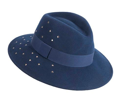 Fascinators Online - Wide brim navy felt fedora hat by Max Alexander 2