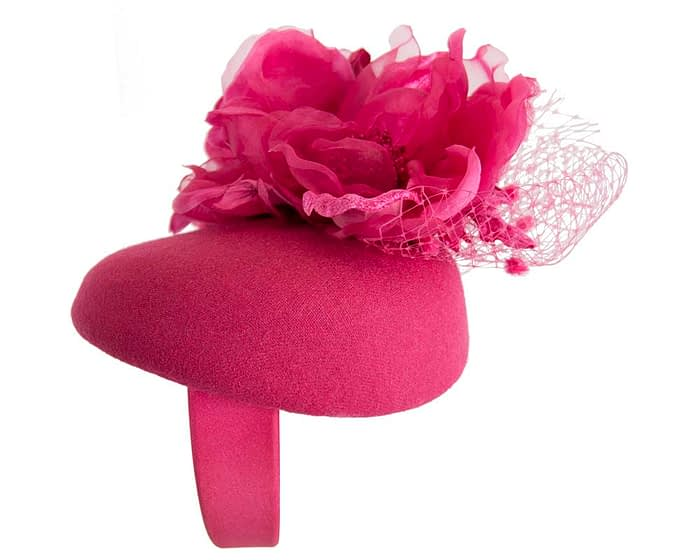 Fascinators Online - Fuchsia pillbox fascinator with flower by Fillies Collection 2