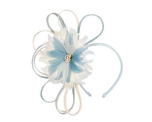 Fascinators Online - Light blue & cream feather flower fascinator headband by Max Alexander 2