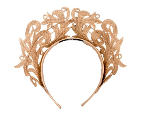 Fascinators Online - Gold lace crown racing fascinator by Max Alexander 4