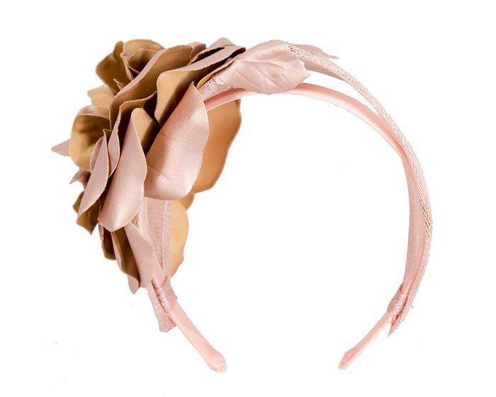 Fascinators Online - Rose gold leather flower headband fascinator by Max Alexander 5