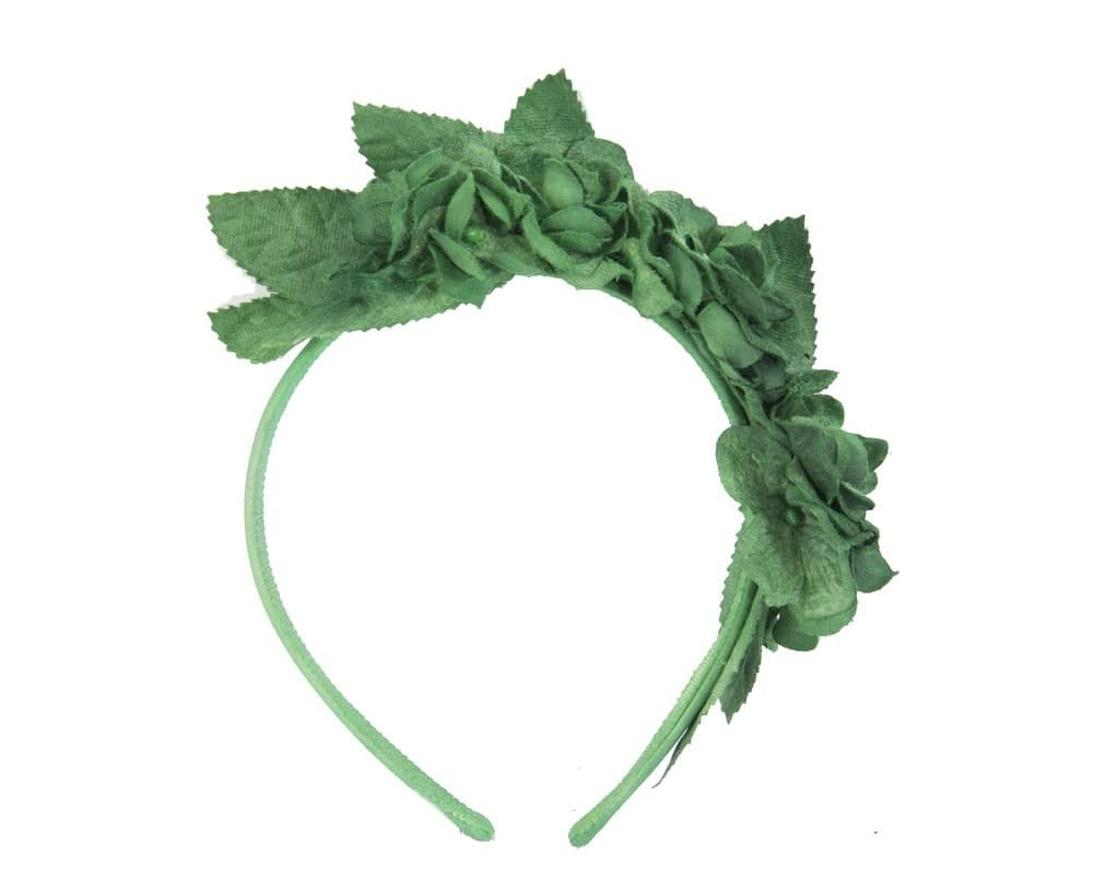 Green flower headband fascinator