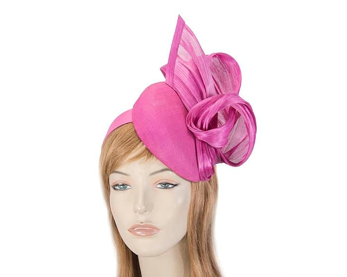 Fascinators Online - Fuchsia pillbox fascinator with silk bow by Fillies Collection 1