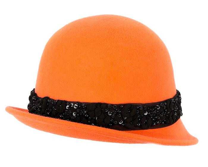 Fascinators Online - Orange ladies winter felt cloche hat by Fillies Collection 3