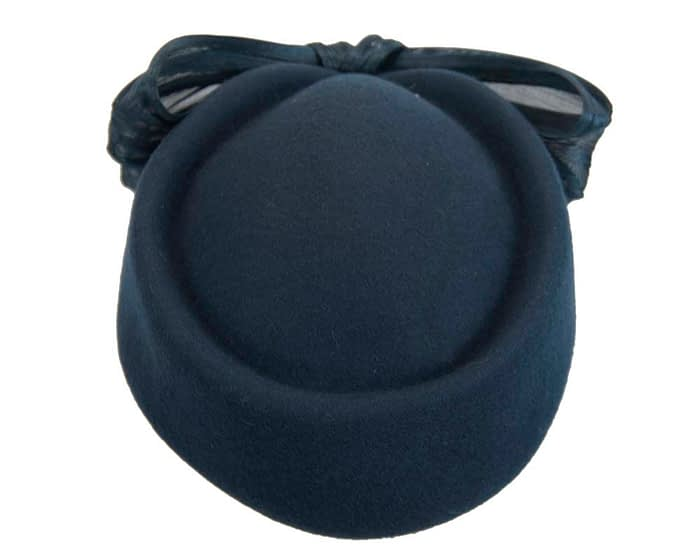 Fascinators Online - Navy felt ladies fashion beret hat with bow by Fillies Collection 3