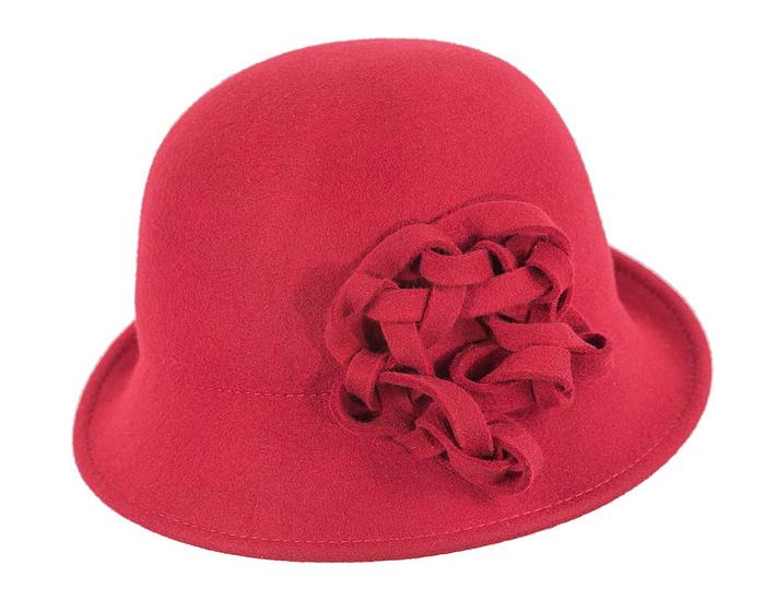 Fascinators Online - Red felt cloche by Max Alexander 4