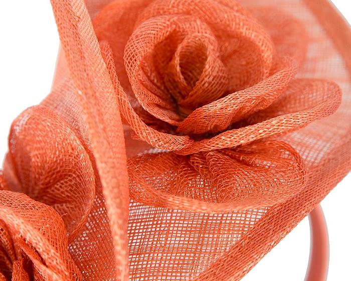 Fascinators Online - Burnt orange sinamay fascinator by Max Alexander 3