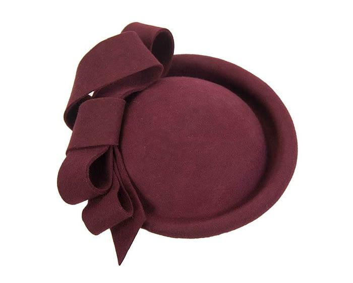 Fascinators Online - Large burgundy felt fascinator hat by Fillies Collection 3