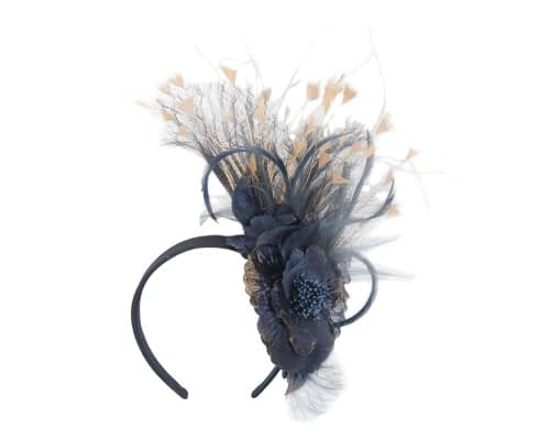 Navy & gold flower fascinator