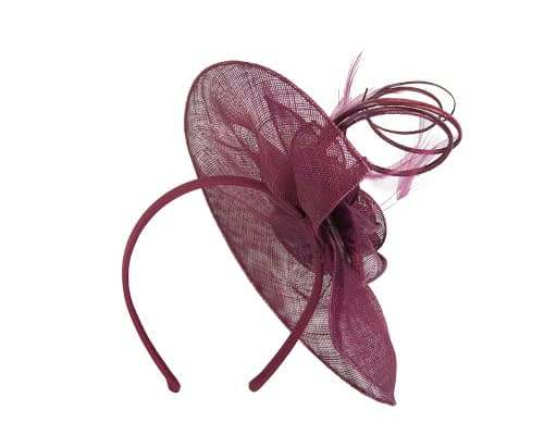 Fascinators Online - Large burgundy wine sinamay racing fascinator with feathers by Max Alexander 5