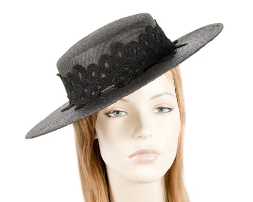 Fascinators Online - Black fashionable boater hat with lace 1