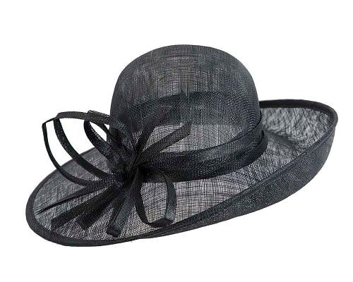 Fascinators Online - Black ladies sinamay racing hat by Max Alexander 2