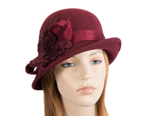 Fascinators Online - Exclusive burgundy felt cloche hat with lace by Fillies Collection 27