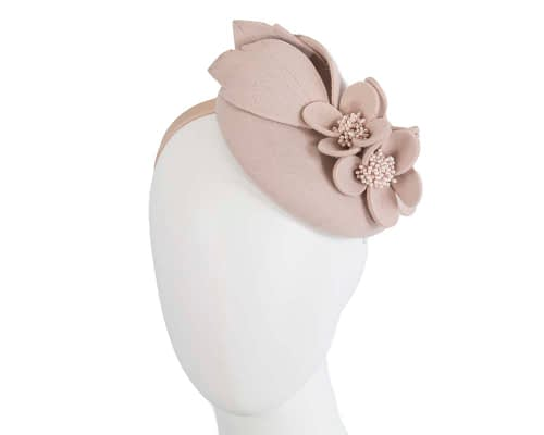 Fascinators Online - Beige felt winter pillbox fascinator by Max Alexander 65