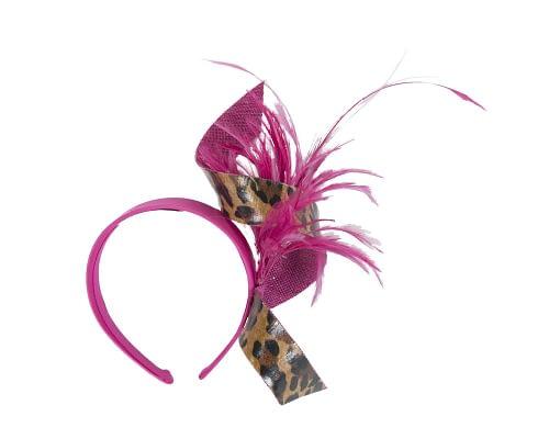 Fascinators Online - Fuchsia & leopard twisted fascinator 2