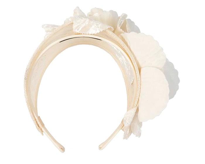 Fascinators Online - Cream flower headband fascinator by Max Alexander 4