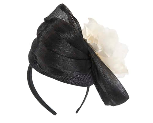 Fascinators Online - Black & Cream pillbox fascinator with large flower by Fillies Collection 6