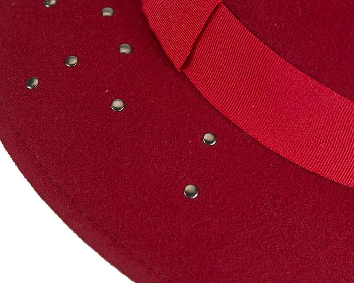 Fascinators Online - Wide brim dark red felt fedora hat by Max Alexander 5