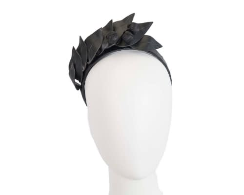 Fascinators Online - Black leather racing fascinator by Max Alexander 34
