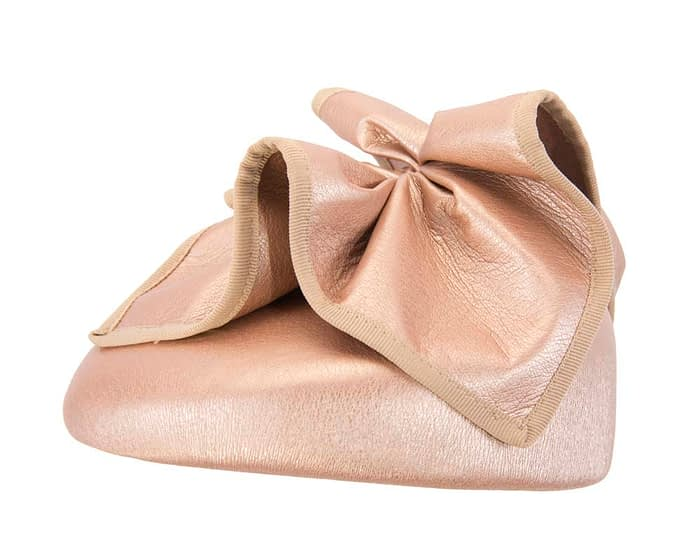 Fascinators Online - Rose gold leather pillbox fascinator by Max Alexander 3