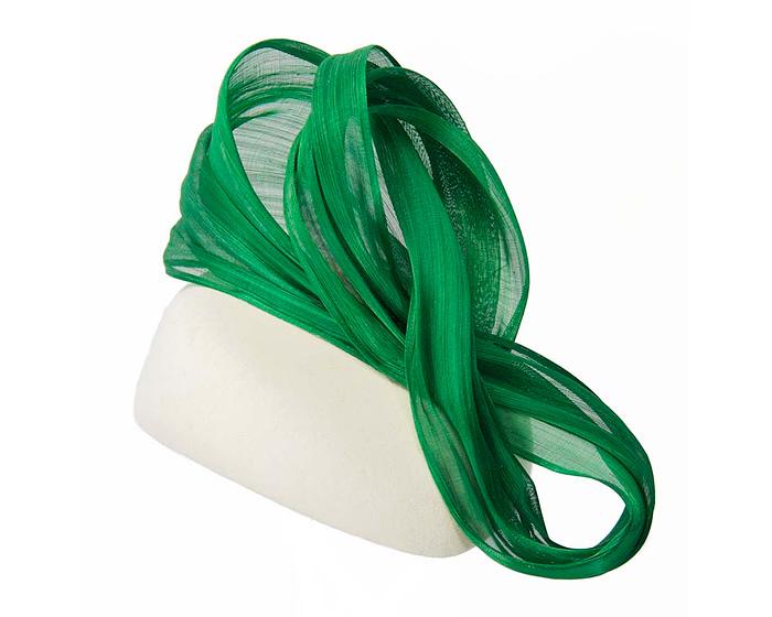 Fascinators Online - Exclusive Cream and Green winter pillbox fascinator 2